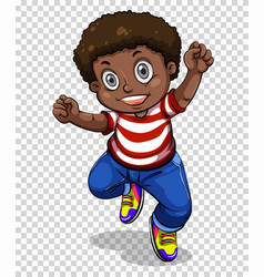 African american boy jumping vector