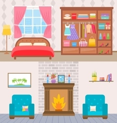 Bedroom with furniture and window Wardrobe with vector image