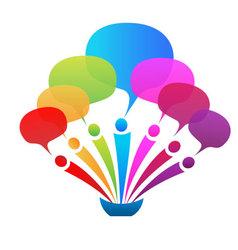 Business network speech bubbles logo vector image vector image