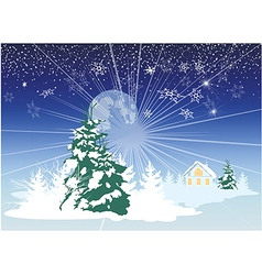 Christmas card with a house in the woods vector image