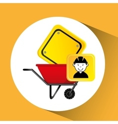 construction worker wheelbarrow sign traffic vector image vector image