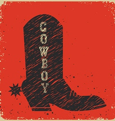 Cowboy boot background red card vector image vector image