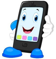 Smart phone cartoon calling vector image