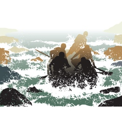 whitewater rafting vector image