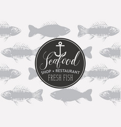 banner for seafood with inscription and seamless vector image vector image