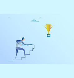 business man drawing on stairs up to golden cup vector image vector image