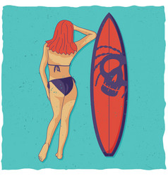 girl and surfing board vector image vector image