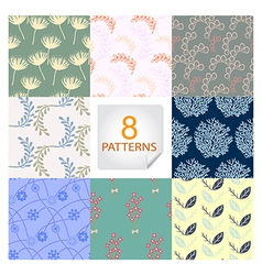 Natural seamless patterns 8 designs in one set vector image