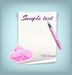 paper with hearts vector image