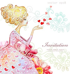 watercolor greeting card with beautiful girl for vector image vector image