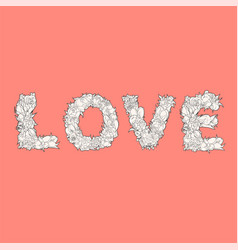 word love on red vector image vector image