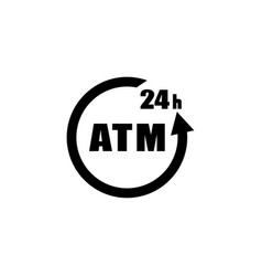 24 hour atm icon isolated sign vector image