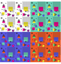 4 colors of seamless memphis pattern vector image