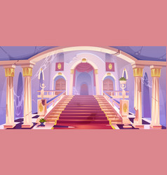 Abandoned castle staircase empty old palace vector