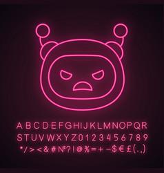 Angry robot emoji neon light icon vector