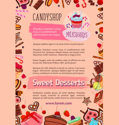 bakery candy desserts poster for cafe vector image