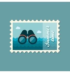 Binoculars flat stamp summertime vector image