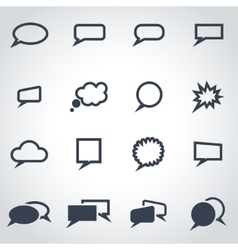 black speak bubbles icon set vector image