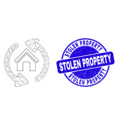 Blue scratched stolen property seal and web mesh vector