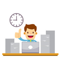 Businessman enjoying working with laptop and pile vector