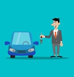 Businessman the keys to the car vector