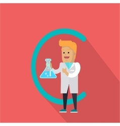 C Letter and Scientist with Chemical Fask vector image
