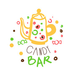 Candy bar logo colorful hand drawn label vector
