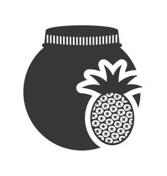canned fruit in mason jar monochrome silhouette vector image