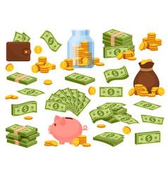 cartoon money bag and piles piggy bank banknote vector image