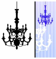 chandelier on blue striped background vector image vector image