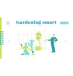 Characters grow planting and caring plants vector