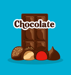 chocolate bar and candies with cream chips vector image