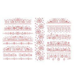 christmas dividers with line art icons vector image