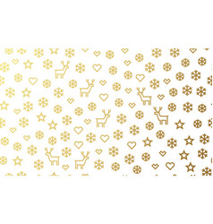 christmas golden deer and snowflake seamless vector image