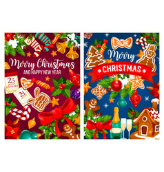 christmas new year greeting cards vector image