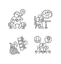 chronic disease linear icons set vector image