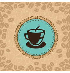 coffee cup on blue label vector image vector image