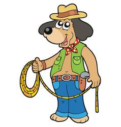 Cowboy dog with lasso vector