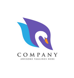 Creative and elegant swan logo bird logo vector