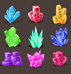 crystal set different shapes and colors crystal vector image