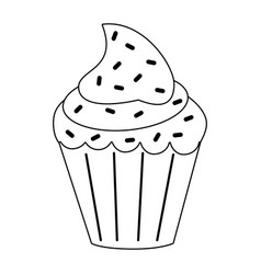 Cupcake with sprinkles icon image vector