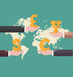 Currency exchange concept with world map vector