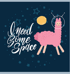 cute pink llama with space helmets in deep blue vector image