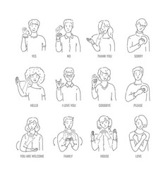 Deaf mute sign language character gesture vector