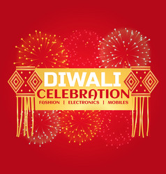 Diwali celebration sale banner with fireworks and vector