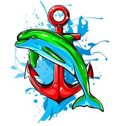 dolphin in water splash watercolor element vector image