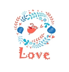 enamored bird in love vector image