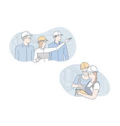 Engineer industrial building teamwork set vector
