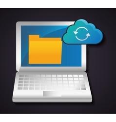 File archive laptop data center web hosting vector