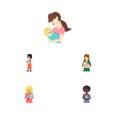 Flat icon mam set of mam child woman and other vector